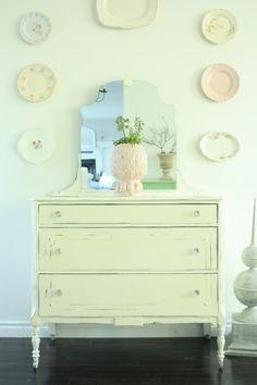 light green painted dresser