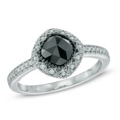 1 CT. T.W. Enhanced Black and White Diamond Frame Ring in 14K White Gold - Save on Select Styles - Zales