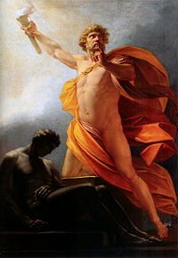 'Prometheus Brings Fire' by Heinrich Friedrich Füger. Prometheus brings fire to mankind as told by Hesiod, with its having been hidden as revenge for the trick at Mecone. - Wikipedia, the free encyclopedia