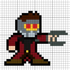 Star-Lord (Peter Quill) Perler Bead Pattern Gardians Of The Galaxy, Graph Paper Drawings, Stitch Crochet, Pix Art, Peter Quill, Star Lord, Perler Patterns, Pearler Beads, Knitting Charts