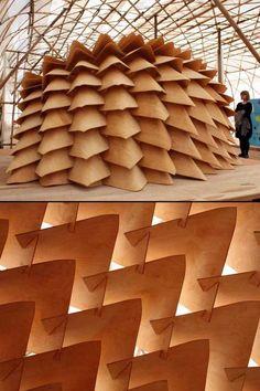 Finnish Dragon Skin Pavilion, Architecture Biennale Hong Kong, China #plywood #bentplywood #architecture #pavilion