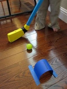 Simple game for kids' indoor play. Indoor Counting Croquet, from Toddler Approved! Rainy Day Activities, Indoor Activities, Craft Activities For Kids, Projects For Kids, Crafts For Kids, Summer Activities, Sports Activities, Motor Activities, Theme Sport