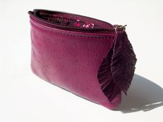 Cherry Leather Wallet with Feather Puller by PrettyOrganizedPurse, €17.50