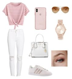 """""""Cute and simple style for spring and summer day out"""" by elena-atmatzidou on Polyvore featuring DL1961 Premium Denim, MICHAEL Michael Kors, adidas, Tory Burch and Michael Kors"""
