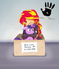 arte MLP, mi pequeño pony, My Little Pony, fandom, Twilight Sparkle, Twilight Sparkle, melena 6, Sunset Shimmer, Shimmer Puesta de sol, de menor importancia