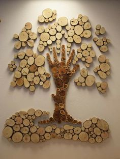 Ideas for wood tree art decoration Cork Crafts, Diy And Crafts, Arts And Crafts, Wooden Art, Wood Wall Art, Wooden Signs, 3d Wall, Wood Slice Crafts, Diy Holz