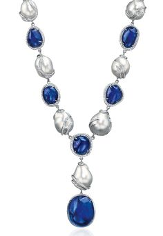 Cellini Jewelers Sapphire and Baroque Pearl Necklace