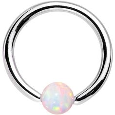 """16 Gauge 5/16"""" 3mm White Synthetic Opal Steel BCR Captive Ring 