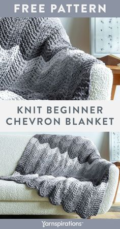 Free Knit Beginner Chevron Blanket pattern using Bernat Blanket Ombre yarn. Snuggle up to this chevron throw with a great introductory ripple stitch for those wanting to move beyond the very basics. The stitch sequence is easy to memorize as you learn knit, yarn over and knit 2 together techniques. More experienced knitters will appreciate the relaxing 2-row repeat on this simple project. #Yarnspirations #FreeKnitPattern #KnitAfghan #KnitThrow #KnitBlanket #BernatYarn #BernatBlanketOmbre