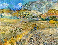Vincent van Gogh, Landscape at Saint-Rémy (Enclosed Field with Peasant)1889 on ArtStack #vincent-van-gogh #art