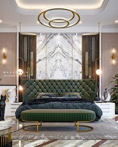 Mint on Behance Modern Luxury Bedroom, Luxury Bedroom Design, Modern Master Bedroom, Luxury Dining Room, Luxurious Bedrooms, Interior Design, Black Bedroom Design, Bedroom Wall Designs, Bedroom Furniture Design