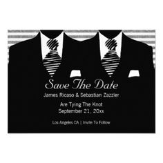 Mr and Mr Suit and Tie Gay Save The Date Wedding 3.5x5 Paper Invitation Card