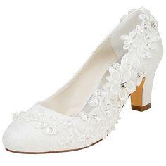 Women s Shoes Stretch Satin Spring   Fall Basic Pump Wedding Shoes Chunky  Heel Round Toe Crystal fab70b308da2