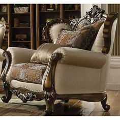 Latisha Chair w/ 2 Pillow in Tan, Pattern Fabric & Antique Oak - Acme Furniture 52117 Acme Furniture, Italian Furniture, Sofa Furniture, Luxury Furniture, Sofa Design, Interior Design, Patterned Chair, Leather Club Chairs, Buy Sofa