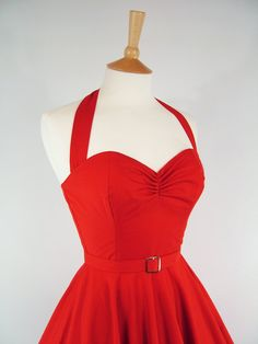 Made To Measure Red Full Circle Dress  Detachable by GinAndSinEtsy, £110.00
