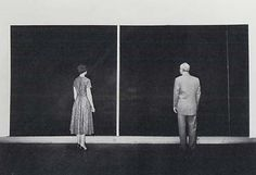 Barnett Newman and an unidentified viewer with 'Cathedra' 1951. Photo Peter A. Juley, 1958