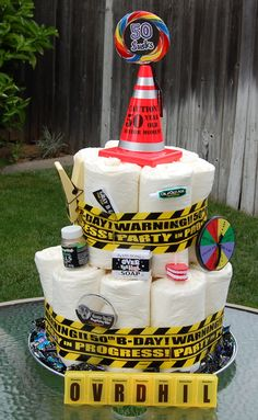 """Over The Hill gift idea ~ Senior Citizen """"Diaper Cake"""": Made with Extra Large adult diapers and decorated with over the hill items from party store. Hahaha lol perfect for a 50 party! Gotta remember this! 50th Birthday Gag Gifts, Adult Birthday Cakes, 60th Birthday Party, 50th Party, Mens 50th Birthday Cakes, 50th Birthday Ideas For Men, Birthday Sayings, Birthday Candy, Birthday Nails"""