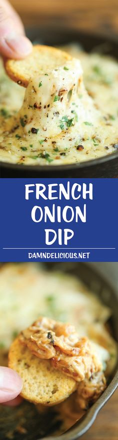 ​French Onion Dip - Everyone's favorite French onion soup is transformed into the cheesiest, creamiest dip of all time. One bite and you'll be hooked!