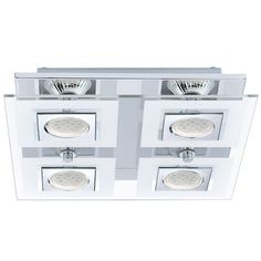 The Cabo semi-flush mount light by Eglo has a unique Modern design. The chrome finish mirrors the frosted and clear glass making this a beautiful pieces to add to any room. It needs 4 bulbs. Square Led Ceiling Lights, Glass Ceiling Lights, Flush Mount Ceiling, Ceiling Light Fixtures, Ceiling Lighting, Wall Lights, Semi Flush Lighting, Transitional Wall Sconces, Cool Floor Lamps