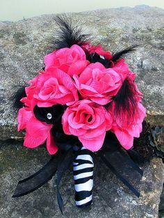 Hot Pink Wedding Bouquets | Wedding Bouquet Bridal Silk flowers zebra FUCHSIA BLACK Hot PINK 17 pc ...