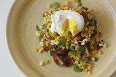 Succotash with Poached Eggs and Toast