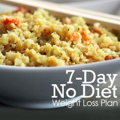 7 Day (No Diet) Weight Loss Plan is a great jump start into clean eating!  #weightloss #nodiet #7daymealplan