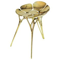 Lotus Stool/Chair in Gold Color Finish 1