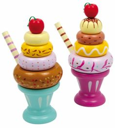 Wooden Toys - Play Food, Ice Cream Sundae, Ice Lollys, Play Kitchen.