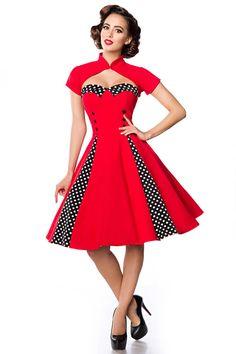 Belsira 50er Jahre Rockabilly Petticoat Kleid - Isabella - Rot Schwarz Weiß