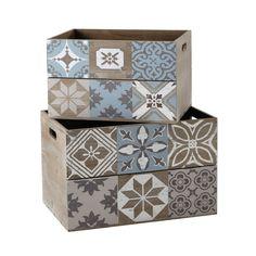 2 caisses en bois 29 x 40 cm et 32 x 48 cm ARMELLE | Maisons du Monde  http://www.homelisty.com/ou-trouver-caisses-en-bois-cagettes/
