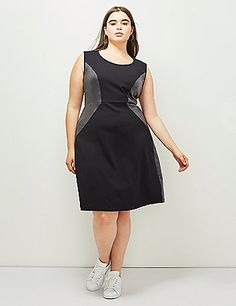 Sleeveless fit & flare ponte dress with leather-like piecing. Exposed back…