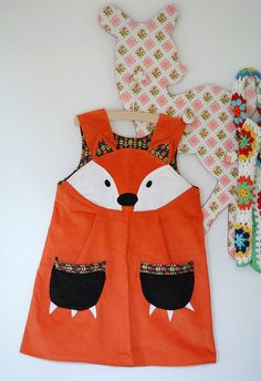 Fox dress - etsy by wild things dresses Sewing For Kids, Baby Sewing, Sewing Clothes, Diy Clothes, Little Girl Dresses, Little Girls, Diy Vetement, Creation Couture, Baby Kind