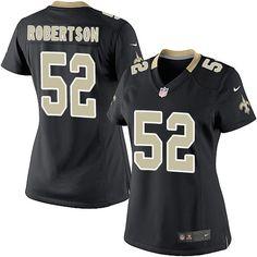 Women's Nike New Orleans Saints #52 Craig Robertson Elite Black Team Color NFL Jersey