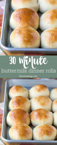 30 Minute Buttermilk Dinner Roll Recipe - I Heart Eating