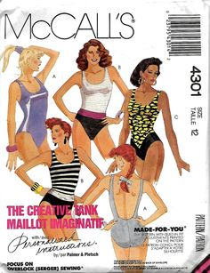 McCall's 4301 Misses Swimsuits Sewing Pattern, Low Back One-Piece, Size 12 UNCUT by DawnsDesignBoutique on Etsy