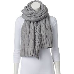 SONOMA life + style Cable-Knit Scarf, Size: One Size (Grey) ($32) ❤ liked on Polyvore featuring accessories, scarves, grey, long scarves, long shawl, grey shawl, gray shawl and cable knit shawl