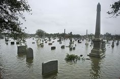 hurricane ike natural disaster texas: Flooded- A cemetery in Galveston was over-run with water on Saturday morning by MATT SLOCUM / AP