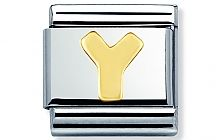 Nomination Stainless Steel with 18ct gold Letter Y Classic Charm