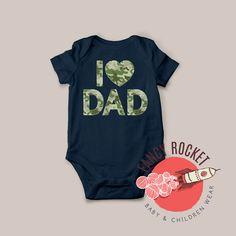 I LOVE DAD Baby Camo Letters Outfit Navy Blue by FancyRocket