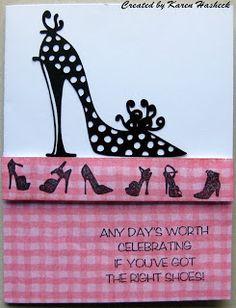 Karen's Kreative Kards: Pink Shoe Cards at Crackerbox Palace
