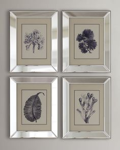 """Nature-inspired prints. Double matted in ivory and navy. 4-piece set; each, 15""""W x 2""""D x 19""""T. Images under glass and held within beveled-mirror frames. Made of paper, wood, and glass. Made in the USA"""