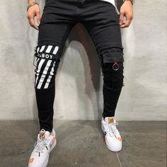 Mens Cool Designer Brand Pencil Jeans Skinny Ripped Destroyed Jeans - Men's style, accessories, mens fashion trends 2020 Jeans Skinny, Ripped Jeans, Jeans Pants, Biker Jeans, Casual Jeans, Jeans Style, Men's Fashion, Street Fashion, Fashion Styles