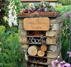 Make a mini wildlife stack for the creepy crawlers and beneficial insects by creating your own insect hotel.