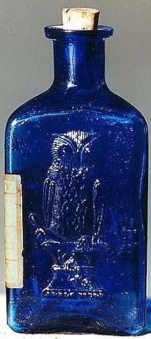 """POISON / The Owl Drug Co.  KT-1 2-wing cobalt poison in rare 5"""" size with original label."""