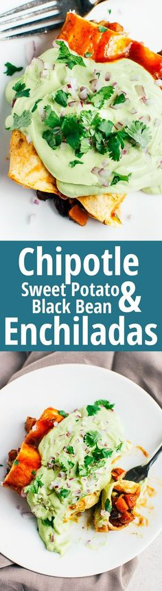 Chipotle Sweet Potato & Black Bean Enchiladas - These spicy enchiladas do not skimp on flavor, and just to be sure they are smothered in a delicious avocado cream. #vegan #glutenfree