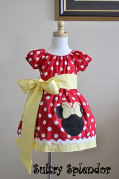Red Polka Dots Minnie Mouse Peasant Dress with Applique