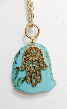 *hamsa means 5 and is a symbol of protection* Turquoise hamsa necklace $28