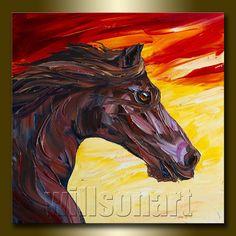 Horse Portrait Modern Oil Painting Textured Palette por willsonart
