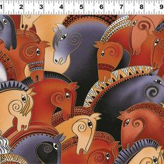 Clothworks Embracing Horses by Laurel Burch Earth Horse Heads Collage