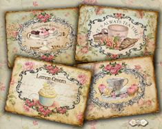Patisserie  Digital Cards  Vintage Tags  by LuluDesignArt on Etsy